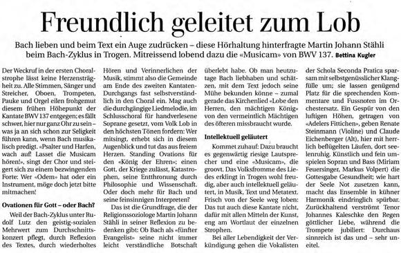 Konzertbericht BWV 137