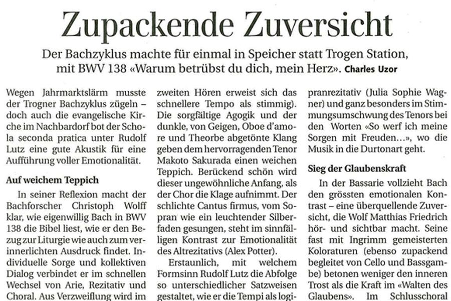 Konzertbericht BWV 138